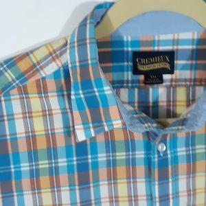Cremieux Sport Shirt Plaid Blue Orange Yellow